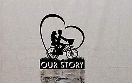 Pareja de bicicleta con forma de corazón, decoración para tarta de boda, personalizable con tu nombre o frase: Amazon.es: Hogar