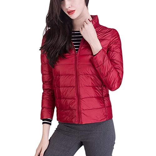 con Cómodo con Solapa Moda Pluma Prendas Ropa Cremallera Bolsillos Outwear De Mujer Unicolor Corto Larga Exteriores Manga Invierno Rojo Abrigos qx6aP8wz4