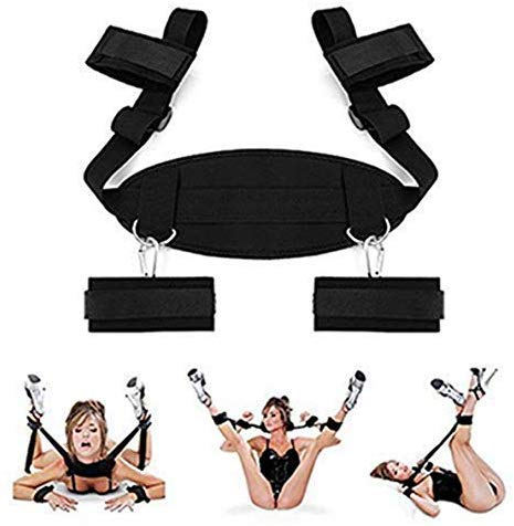Bed Rêštráint Set Kit for Couples Sê&x Play Eldërly Bōňdägéromance Straps Toy with Wrist and Ankle Cuffs for Women, Black Straps Toy with 4 Soft Cuffs for Wrist Ankle