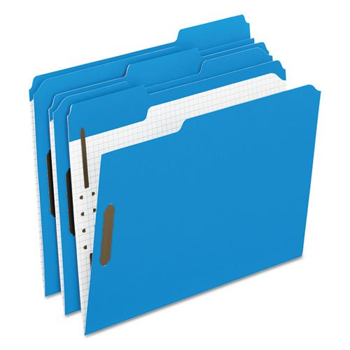 Reinforced Top Fastener Folders, 1/3 Cut, Letter, Blue/Grid Interior, 50/Box, Sold as 1 Box
