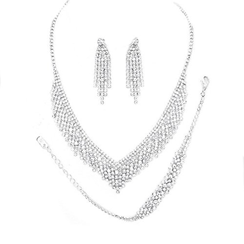 Christina Collection Women Bib Jewelry Clear Rhinestone Crystal fringe Set 3 Pcs Bracelet Earrings Necklace Pavé Statement (clear, silver) -