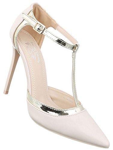 Damen Pumps Schuhe High Heels Stöckelschuhe Stiletto Pink Pink Beige Schwarz Rot 36 37 38 39 40 Beige