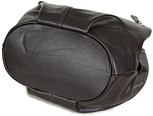 GROUP DE LUXE - Bolso al hombro de cuero para mujer Medium marrón - Brown (Dark Brown)