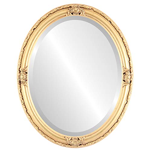 Oval Beveled Wall Mirror for Home Decor - Jefferson Style - Gold Leaf - 20x26 outside dimensions