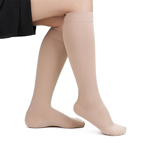 SWOLF 20-30 mmHg Graduated Compression Socks Women Men, Knee High Closed Toe Medical Firm Support Hose – Best Maternity Compression Stockings Relief Swelling Varicose Veins Edema DVT (Beige, X-Large)