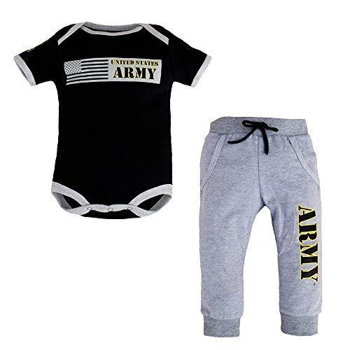 TC U. S. Army 2pc Baby Boys Army Bodysuit Pants Set Black & Gray (3-6 Months)]()