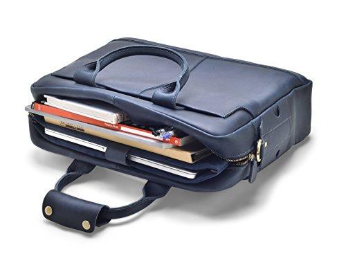 """Hølssen Men's Leather Briefcase Messenger Bag (Dark Blue) Professional Business Satchel w/ 15"""" Laptop Pocket by Hølssen (Image #4)"""