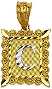 10k or 14k Two Tone Real Gold Letter E in Frame Initial Pendant