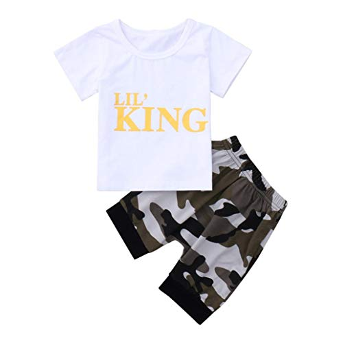 Baby Boy Outfits Lil King Sleeve Short T-Shirts Tops Camouflage Pants Set (0-1 Years Old, White)