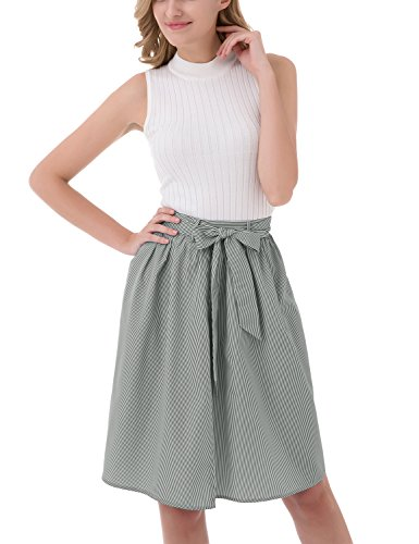 BeryLove Women's High Waist Vertical Striped Bowknot Belt Midi Skirt Black Size S