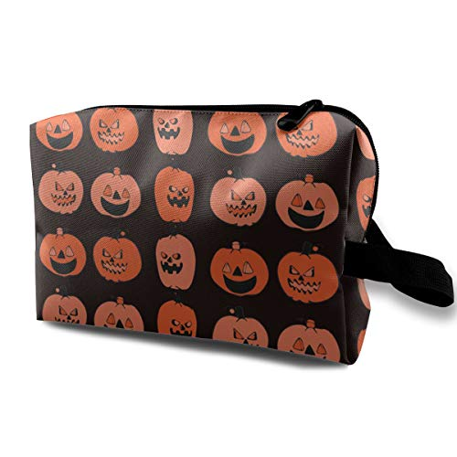 Carved Halloween Pumpkin Pattern Portable Make-up Receive Bag Hand Cosmetic Bag Makeup Bag Sewing Kit Medicine -