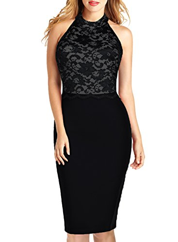WOOSEA Women's Elegant Sleeveless Floral Lace Vintage Midi - 2015 Dress For Evening Party