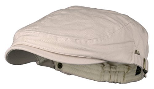 Cotton Ivy Hat - Men's Cotton Flat Cap Ivy Gatsby Newsboy Hunting Hat, Beige, One Size