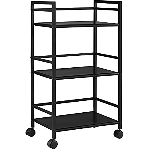 Ameriwood Home 7741196PCOM Marshall 3 Shelf Metal Rolling Utility Cart Black  sc 1 st  Amazon.com & Metal Storage Carts with Wheels: Amazon.com
