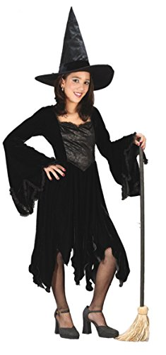 [Girls Velvet Witch Black Kids Child Fancy Dress Party Halloween Costume, L (12-14)] (Halloween Witch Costumes Kids)