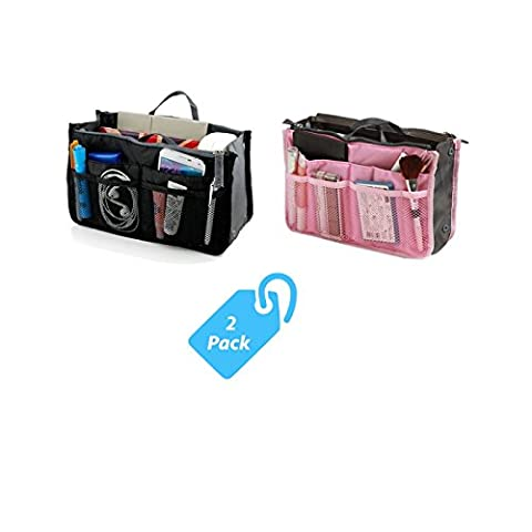 StyleTech Inc. Travel Insert Accessories Compartment Bag Durable Multi-Pocket Insert-Organizer Tote Bag (Black + - South Beach Wine