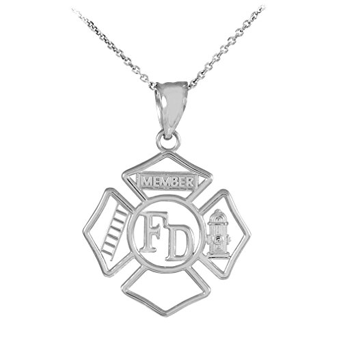 - 925 Sterling Silver FD Open Badge Firefighter Pendant Necklace, 22