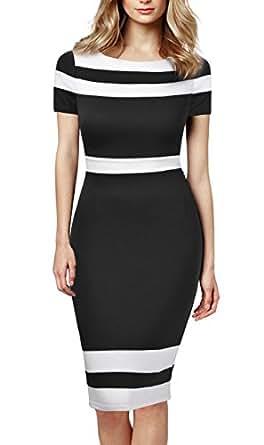 Mmondschein Women's Scoop Neck Optical Illusion Business Bodycon Dress S Black