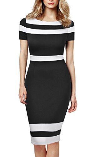 Mmondschein Women's Scoop Neck Optical Illusion Business Bodycon Dress XL Black