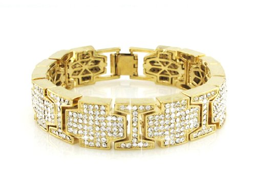 Amazon.com  Hip-hop Gold Tone Bling Iced Mens Bracelet Covered with ... 25a76f7da
