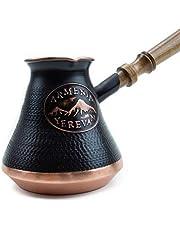 Handmade Coffee Pot Maker - 3-5-7 Cups - Armenian Copper Jazva Ararat - Wooden Handle - Turkish Arabic Greek Cezve Jezve Ibrik Turka Jazve