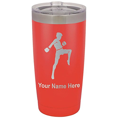 20oz Tumbler Mug, Muay Thai Fighter, Personalized Engraving Included (Red) by SkunkWerkz