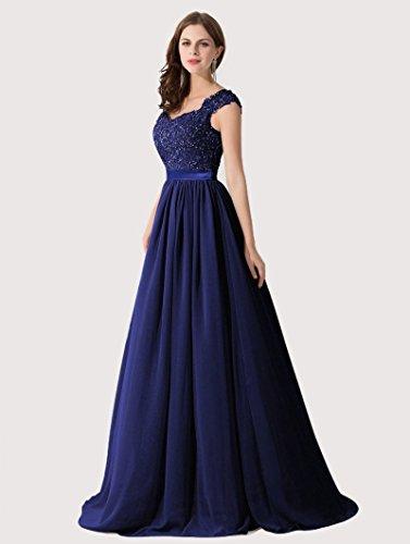 Abito Lungo Donna Blue Elegante da Sapphire Da Qiuqier Sera Cerimonia Vestito xtn8OO