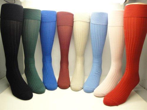 Classic Bermuda Men's Mercerized Cotton Ribbed Knee-high Socks (Maroon) ()