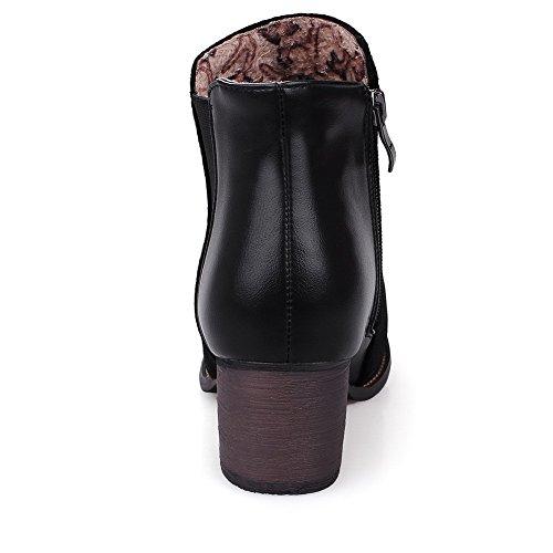 Allhqfashion Mujeres Kitten-heels Sólido Redondo Cerrado Dedo Suave Material Cremallera Botas, Negro, 31