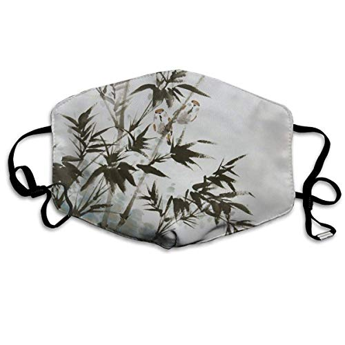 VBTY Reusable Comfort Polyester Breathable Mask - Breath Healthy Reirator Bamboo Bird Print Earloop Mask ()