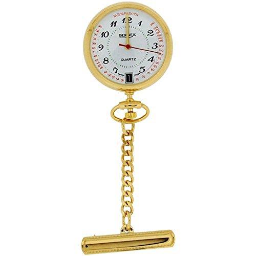 Bernex Unisex Swiss Movement Date Goldtone Nurses Fob Watch Branded Box GB31101 by Bernex