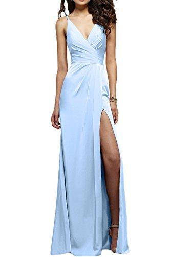 Ausschnitt Abiballkleider Himmelblau Traeger Missdressy Promkleider Sexy Partykleider Abendkleider Schlitz Lang V Neu Ballkleider Satin 7T7F6XBq