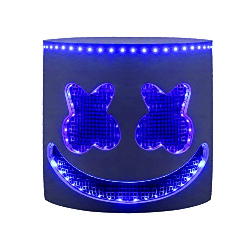 molezu Top 10 DJS LED Light Up Marshmello Helmet Music Festival Marshmallow Mask Halloween Costume Party Props EVA Mask Blue Lights ()