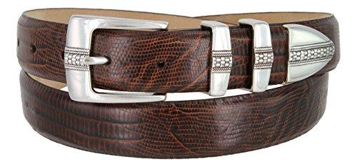 (Brandon Italian Calfskin Leather Designer Dress Golf Belt for Men (36, Lizard)