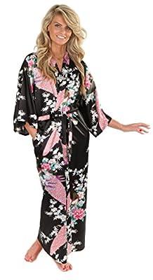 VEAMI Women's Kimono Robe, Peacock Design, Long