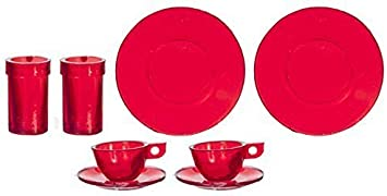 Melody Jane Dolls House Cutlery Set Red Handles Miniature Dining Tableware