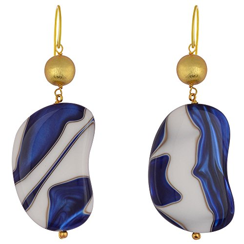 Shaze Gold Colored Misty Blue Earrings for Women by shaze