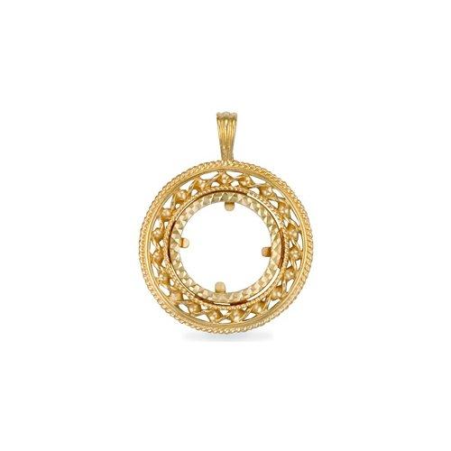 Jewelco 9K coin souveraine torsion or corde bonbons plein pendentif montage