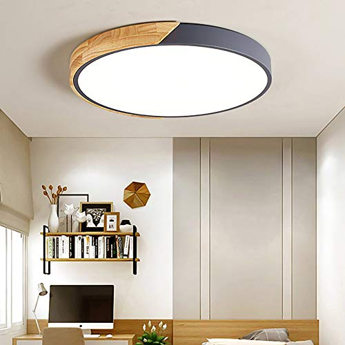 EDISLIVE Ceiling Light Dimmable 19inch Modern Minimalist LED Round Shaped Wood & Metal & Acrylic Flush Mount Ceiling Light Gray ...