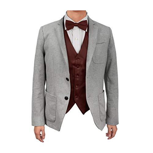 Pretty Satin Bow - Dan Smith DGEE0008-2XL Burgundy Plain Microfiber Economics Waistcoat Satin Luxury For Pretty Vest Matching Bow Tie