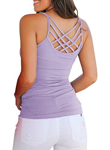 e61dc43a36551 Niitawm Womens Tank Tops Criss Cross Spaghetti Strap Summer Cami Tops  Hollow Out Sleeveless T Shirts