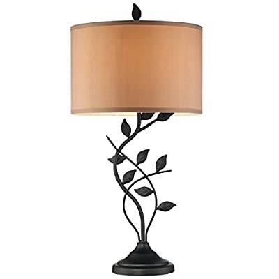 "Revel Ambrose 30"" Matte Black Table Lamp, Intricate Leafs Design, Gold Bronze Shade"