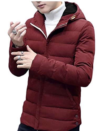 Thicken Wine Outdoor Jacket TTYLLMAO Down Men's Coat Hooded Red Jacket Short twqAapqW
