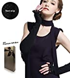 Women's Long Lace Fingerless Anti-uv Sun Arm Sleeves Gloves for Driving/Party/Evening with Gift Box