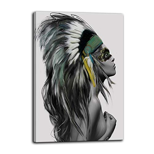 (Urttiiyy Indian Girl Chief Native American Canvas Wall Art Girl Colorful Feathered Women Prints Home Decor Decals for Living Room Bedroom Bathroom Decor Framed Ready to Hang)