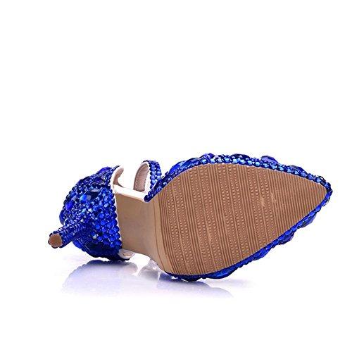 Pompe Vestito Eur Alto 35 Scarpe Signore Appuntito 5 Dimensione Nozze Sandali Donne Pizzo Caviglia Cinghia Uk 5 Primavera 38 Blue Blu Tribunale Tacco Le Nuziale Strass 41 Sera wYUxRz