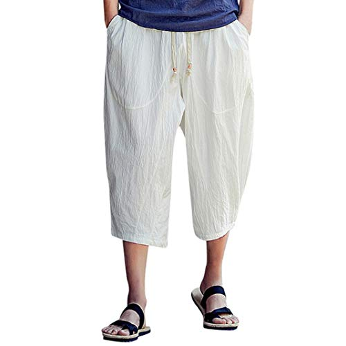 WUAI Mens Harem Pants, Casual Fashion Loose Soft Slim Fit Outdoors Sports Baggy Cropped Trousers(White,US Size S = Tag ()