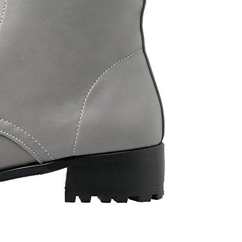 festem Schnürstiefel und Damen niedrigem rundem Ansatz PU aus grau mit AgooLar Absatz qt71fFq