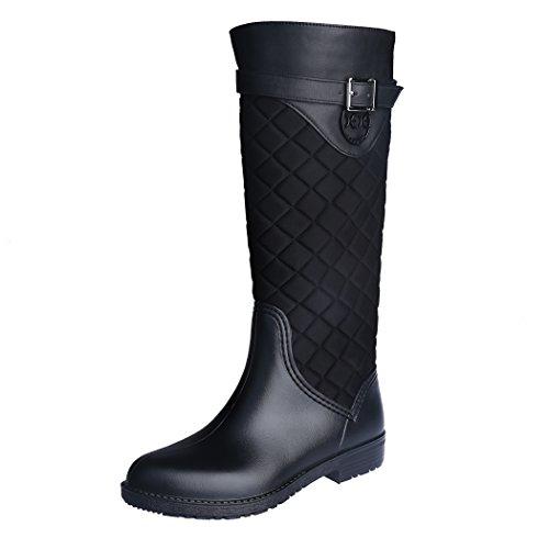 Rain Boots Snow (ZJHEHE Rain Boots Snow Boots for Womens Fashion Waterproof Warm with Soft Villi Spliced Rainshoes(8))