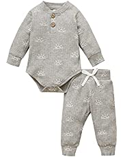 Infant Baby Boy Fall Clothes Winter Outfits sets 0-2T Ribed Cotton Long Sleeve Romper+Pant 2 pcs